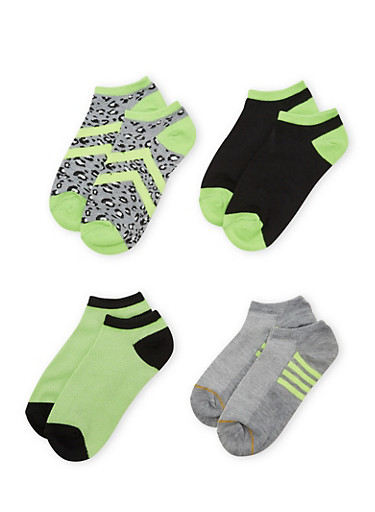 4-Pack of Ankle Socks,LIME,large