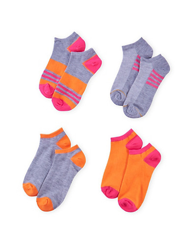 Assorted Ankle Sock 4 Pack with Stripes,ORANGE,large