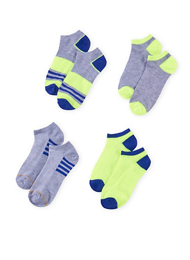 Assorted Ankle Sock 4 Pack with Stripes,NEON LIME,large