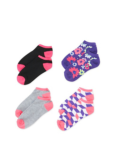 Assorted Ankle Socks 4-Pack,PURPLE,large