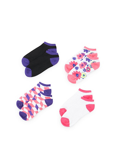 Assorted Ankle Socks 4-Pack,FUCHSIA,large