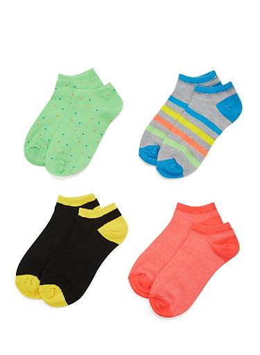 4-Pack of Ankle Socks,NEON ORANGE,large