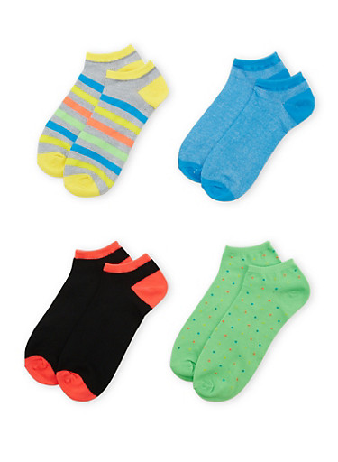 Plus Size Assorted Ankle Socks 4-Pack,NEON LIME,large