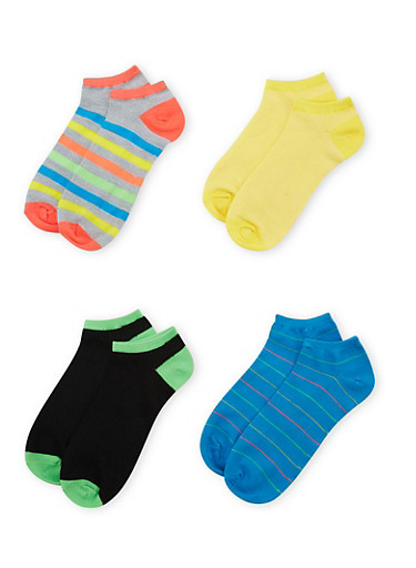 Plus Size Assorted Ankle Socks 4-Pack,BLUE,large