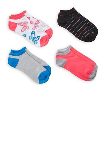 Set of 4 Ankle Socks,PINK,large