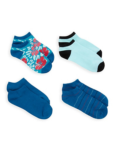 Set of 4 Ankle Socks,TEAL,large