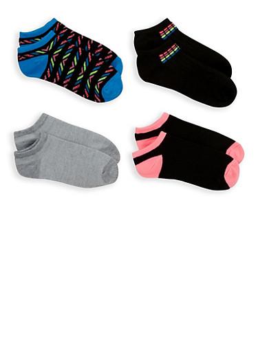 4 Pack Assorted Ankle Socks,BLACK,large