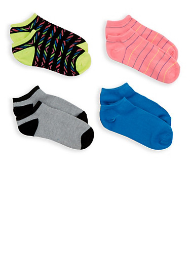 4 Pack Assorted Ankle Socks,LIME,large