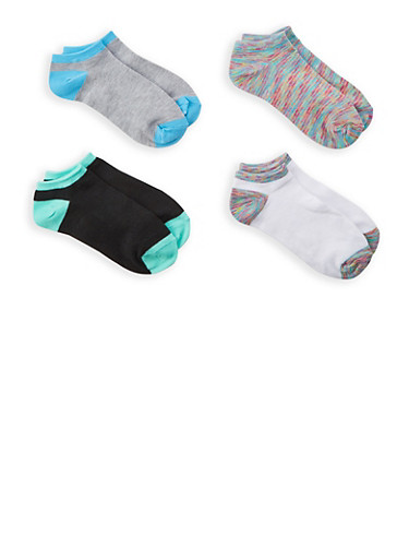 Set of 4 Ankle Socks,TURQUOISE,large