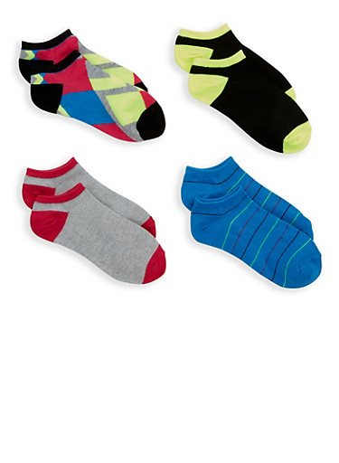 4 Pack Assorted Ankle Socks,BLUE,large