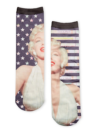 Marilyn Monroe Graphic Socks,MULTI COLOR,large