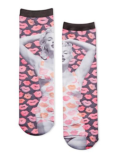 Marylin Monroe Socks with Lipstick Print,MULTI COLOR,large