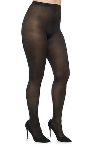 Plus Size Black Tights,BLACK,large