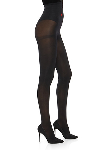 Lip Graphic Opaque Black Tights,BLACK,large