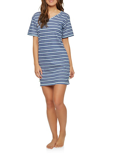 Striped Sleep Shirt,NAVY,large