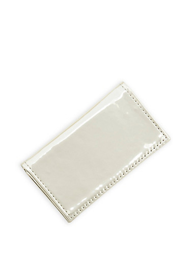 Metallic Patent Leather Card Wallet,SILVER,large