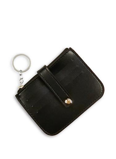Faux Leather Multi Card Holder Keychain,BLACK,large