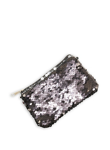 Reversible Sequin Coin Purse,BLACK,large