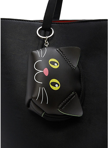 Faux Leather Critter Coin Purse Keychain,BLACK,large