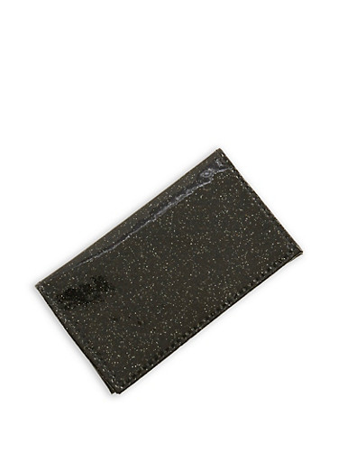 Glitter Patent Leather Card Wallet,BLACK,large