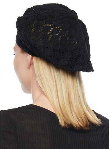 Crocheted Beret Hat,BLACK,large