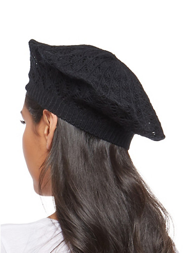 Crochet Knit Beret,BLACK,large