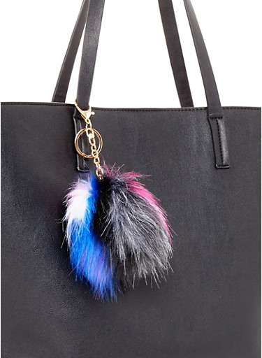 Faux Fur Multi Color Pom Pom Key Chain,BLACK/FUSHIA,large