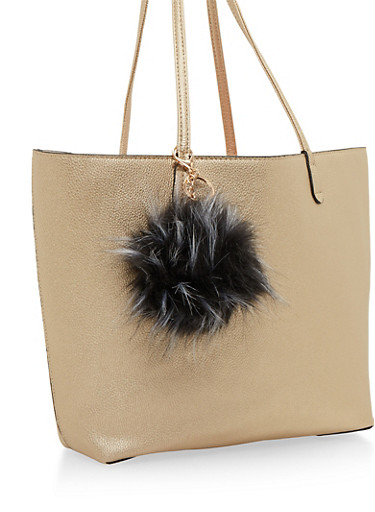 Faux Fur Pom Pom Bag Charm,BLACK/WHITE,large