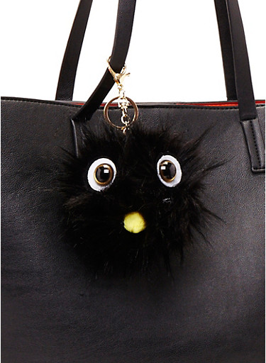 Faux Fur Pom Pom Keychain with Monster Face,BLACK,large