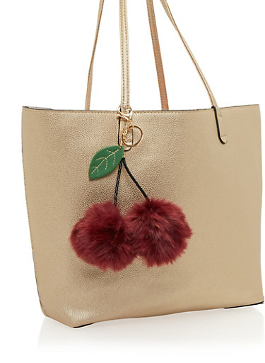 Cherry Faux Fur Pom Poms Bag Charm,PLUM,large