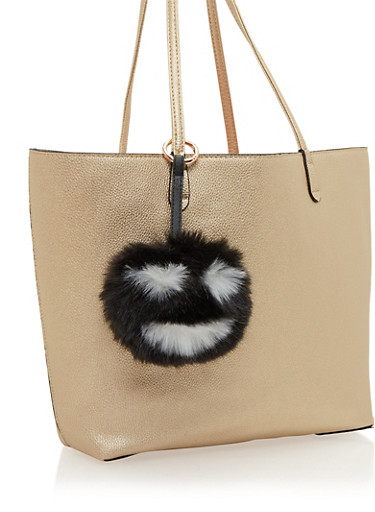 Faux Fur Pom Pom Bag Charm with Smiley Face,BLACK,large