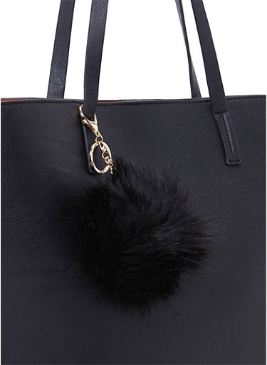 Faux Fur Pom Pom Bag Charm,BLACK,large