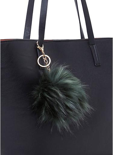 Faux Fur Pom Pom Bag Charm,OLIVE,large