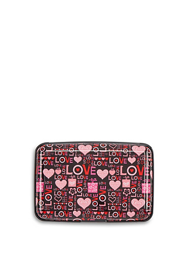 Pink Love Graphic Card Wallet,MULTI COLOR,large