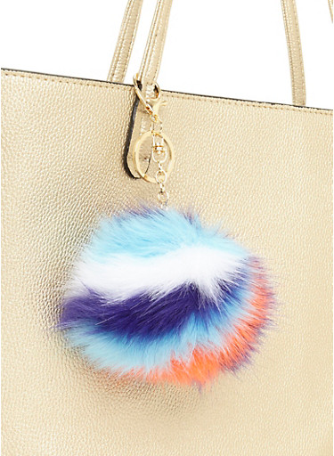 Multicolored Pom Pom Keychain,WHITE/BLUE,large