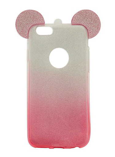 Glitter Mouse Ear Phone Case,PINK,large