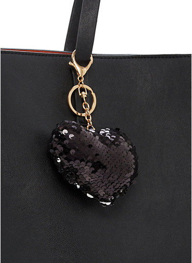 Reversible Sequin Heart Keychain,BLACK/SILVER,large