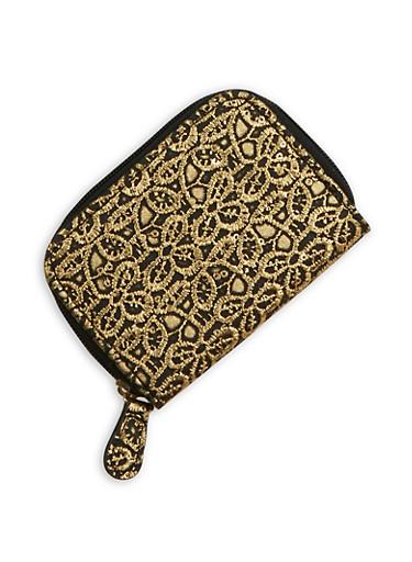 Mini Metallic Lace Zip Wallet,BLACK,large
