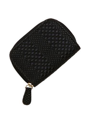 Mini Woven Faux Leather Zip Wallet,BLACK,large