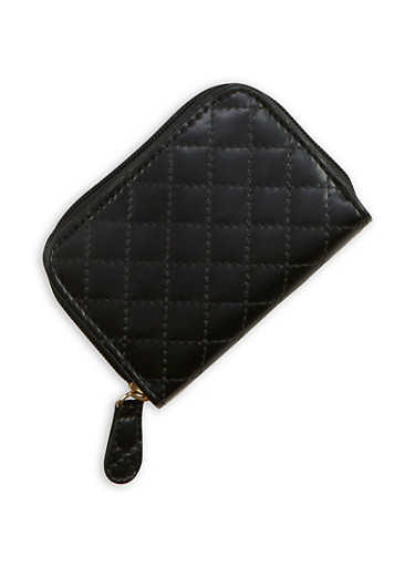 Mini Quilted Faux Leather Zip Wallet,BLACK,large