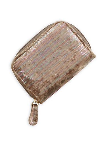 Mini Foil Velvet Zip Wallet,MULTI COLOR,large