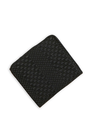 Mini Woven Faux Leather Bifold Wallet,BLACK,large