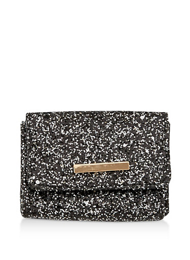 Glitter Card Wallet with Metallic Bar Accent,BLACK,large