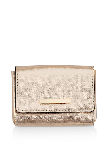 Textured Faux Leather Card Wallet,ROSE,large