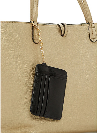 Faux Saffiano Leather Keychain Card Holder,BLACK,large