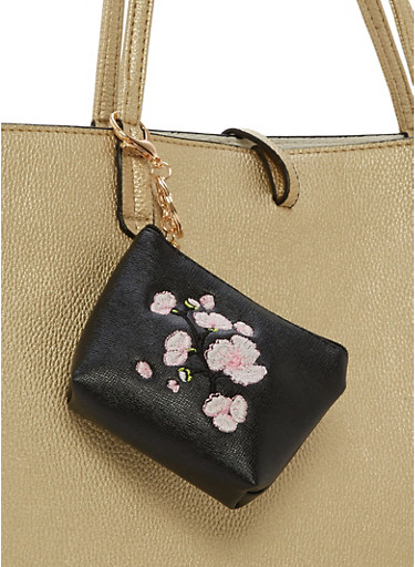 Faux Leather Embroidered Coin Purse,BLACK,large