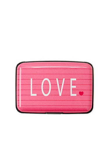 Card Holder Wallet with Love Print,MULTI COLOR,large