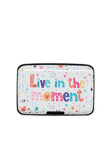 Card Holder Wallet with Live in the Moment Print,MULTI COLOR,large