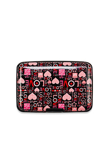 Card Holder Wallet with Love and Hearts Print,MULTI COLOR,large