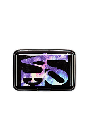 Card Holder Wallet with Galaxy Love Print,MULTI COLOR,large